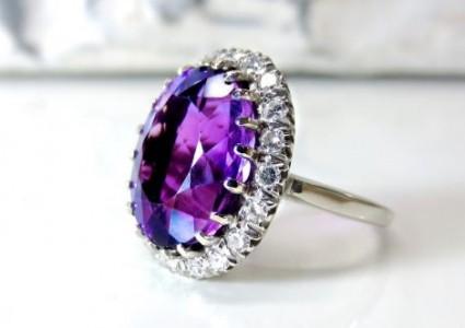 Artificial Purple Diamond Ring