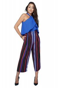 Cropped Striped Paper Bag Waist Pants
