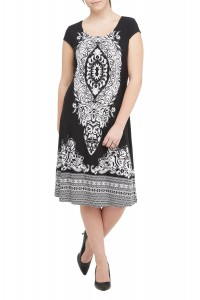 Scroll Print Fit & Flare Jersey Dress