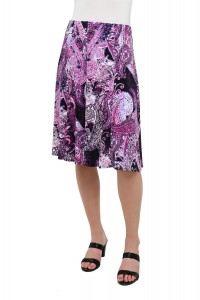 Pull-On Paisley-Printed Jersey Gored Skirt