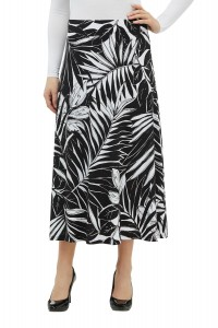 Pull-On Mixed Print Midi Skirt