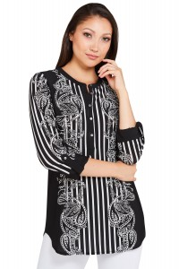 Paisley Stripe knitted Chiffon Henley Top