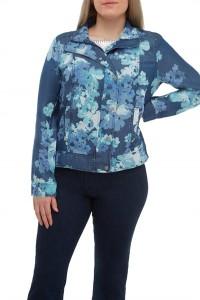 Floral Denim Zip Front Jacket