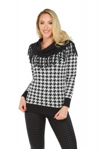 Houndstooth Fringe Cowl Neck Sweater
