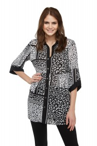 Mixed Leopard-Printed Mesh Tunic Shirt