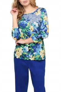 Embellished Tropical Printed Jersey Top