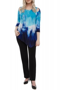 Ombré Print Jersey Cold-Shoulder Asymmetric Tunic