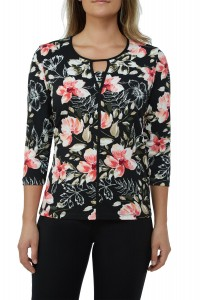 Floral Jersey Keyhole Neck Top