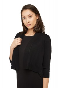 Cropped Cardigan With Pleated Chiffon Back
