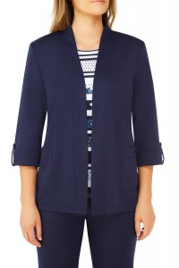 Jersey Open Front 3/4 Sleeve Cardigan With Patch Pockets