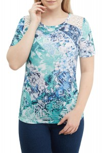 Mixed Print Jersey Top With Lace Yoke
