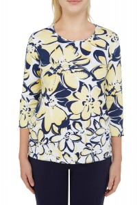Buttercup Floral Print Jersey 3/4 Sleeve Top