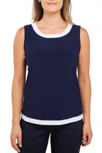 Jersey Crew Neck Sleeveless Top With Contrast Trim