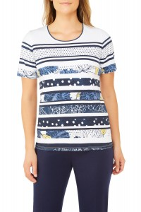 Multi-Stripe Printed Jersey Short Sleeve Crew Neck Top