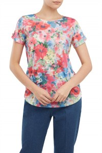 Floral Jersey Top With Ruched Sleeve