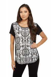 DAMASK PRINTED TOP WITH SIDE PANELS