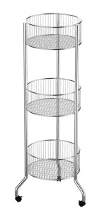 3 Tiered Round Basket Rolling Cart